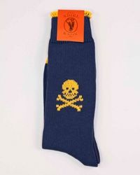 Blue with yellow skull socks
