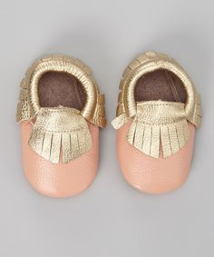 Love this LeighBees Pink & Gold Leather Moccasin Booties by LeighBees on #zulily! #zulilyfinds