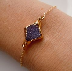 Druzy Bracelet in Plum Purple