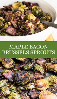 Maple Bacon Brussels Sprouts feature caramelized roasted Brussels sprouts with crispy bits of bacon and a touch of sweetness from the maple syrup. One pan three ingredient recipe! Brussel Sprouts Maple Syrup, Caramelized Brussel Sprouts, Pan Fried Brussel Sprouts, Roasted Sprouts, Brussels Sprouts, Radish Recipes, Sprout Recipes, Bacon Recipes, Lean Recipes