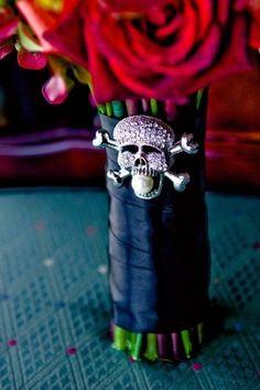 Classic Halloween Wedding idea, skeleton flowers vase decor, red rose wedding centerpiece