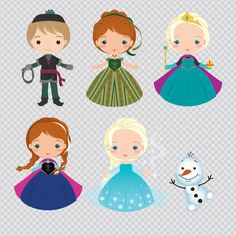 Frozen Princess Set Clipart Instant Download PNG by araqua Love the olaf part!!