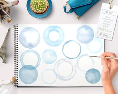 Watercolor clipart circles borders and frames (48 pc) light blue lavender. handpainted round clip art for blogs digital scrapbooking cards - pinned by pin4etsy.com
