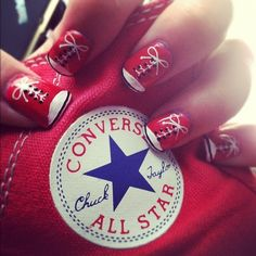 Red Converse Nails. I should so do this! Nails For Kids, Fun Nails, Pretty Nails, Happy Nails, Funky Nail Art, Cool Nail Art, Converse Nail Art, Red Converse, Converse Fashion