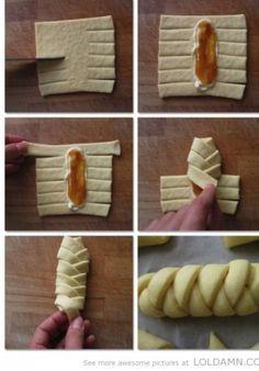 Verschillende manieren om bladerdeeg gebakjes te vouwen.