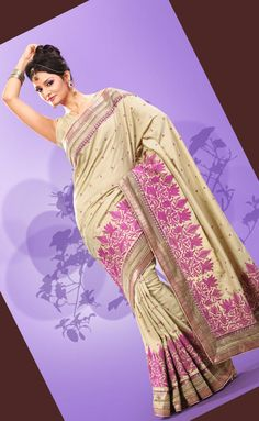 $89.93 Brown Art Silk Saree 21079 With Unstitched Blouse