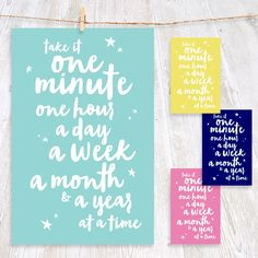 Take it One Minute at a Time • Wall Art • by I Make Jelly