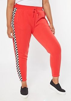 Red fleece joggers in a plus size outfitted with a high-waist drawstring rise and checkered print side stripes. Red Joggers, Fleece Joggers, Jogger Sweatpants, Checker Print, Plus Size Outfits, Active Wear, Latest Trends, Hoodies, Shopping