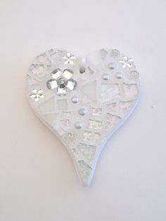 "Mosaic ""Everyday"" Ornament, Heart, Shades of White + Silver Mirror, Handmade Stained Glass Mosaic Design, Wedding Gift by GreenBananaMosaicCo"