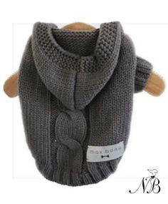 Dark Grey Dog Hoodie Sweater - This luxury hand knit dog hoodie sweater is so beautiful even you will want to wear it! It makes your dog look cute and protects your house from dog hair. Cozy cable knit, soft, thick knit with stretch. Cheap Dog Clothes, Small Dog Clothes, Pet Clothes, Dog Clothing, Dog Hoodie, Sweater Hoodie, Crochet Dog Clothes, Dog Jumpers, Dog Clothes Patterns