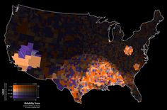 """""""A choropleth map of standardized mortality ratio data (SMR) by county, filtered to show reliable, high risk clusters of cervical cancer."""""""