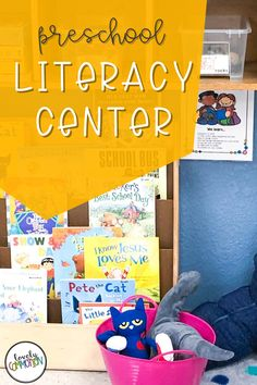 The Literacy Center in a preschool classroom is a place for children to learn about books, alphabet letters and other literary concepts. See what is inside my Literacy Center. Preschool Centers, Preschool Literacy, Literacy Centers, Kindergarten, Play Based Learning, Learning Centers, Cheap Used Books, Classroom Organization, Organization Ideas