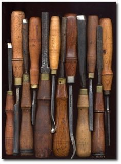 Linda Davis Wood Tools- Keywords: Architectural Salvage, Beautiful Tool Displays - Garage Organization Ideas- Architectural Tools, Antique Tools, Collector Tools, Garage Organization, Garage Storage, Storage Ideas, Garage Tool Storage, Garage Cabinets