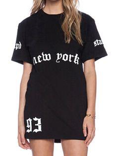 Camiseta Manga Corta Estampado De Numero Y Letra Negra | Choies