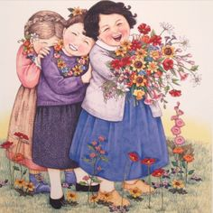 """Friends....❤️"" by Mary Engelbreit. Can also be my sisters and me since we're best friends."