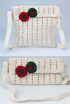 white crochet. sling cum clutch