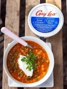 The temperature may be starting to get cooler, but we're still in the mood for some chilly Gazpacho topped with Gay Lea sour cream! 🥣 Gay, Gazpacho, Sour Cream, Creme, Curry, Favorite Recipes, Mood, Ethnic Recipes, Curries