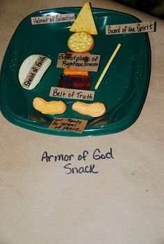 "I'm teaching my primary class a series on putting on the armor of God. We are doing one piece of the armor each week. This ""Armor of God"" snack would be a cute reward for snack time when we complete the series!"