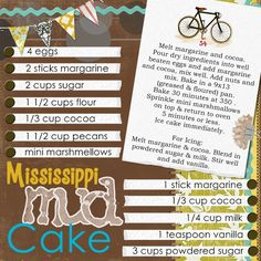 Mississippi Mud Cake - like the layout not the recipe