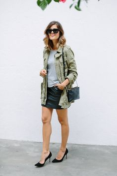 Olive utility jacket outfit for summer