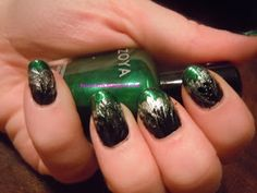 Bevy's Nails: Green and Silver Fire