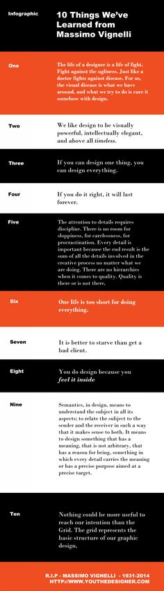 10 Things We've Learned from Massimo Vignelli #design #infographic
