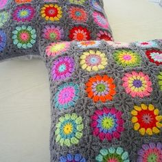 Lovely granny square cushions from http://m.flickr.com/photos/48975819@N02/6214249268/