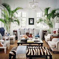 with ・・・ Channeling warmer days via . Love his stunning zebra 🦓 sofa ottoman! Home Living Room, Interior Design Living Room, Living Room Designs, Living Room Decor, Zebra Room Decor, Ottoman In Living Room, Kitchen Interior, British Colonial Decor, British Decor