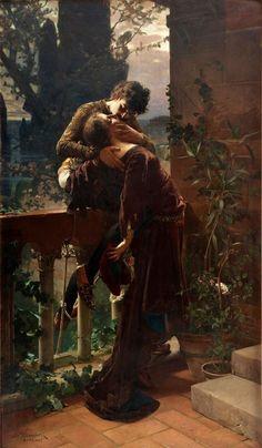 *Julius Kronberg (Swedish)- Romeo and Juliet On the Balcony, 1886* LARGE SIZE PAINTINGS: Julius KRONBERG Romeo and Juliet on the Balcony
