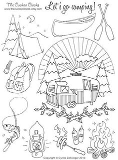 Vintage Embroidery Designs Let's go camping Set Hand Embroidery pattern PDF - Embroidery Transfers, Hand Embroidery Stitches, Crewel Embroidery, Hand Embroidery Designs, Embroidery Techniques, Cross Stitch Embroidery, Machine Embroidery, Vintage Embroidery Patterns, Embroidery Ideas
