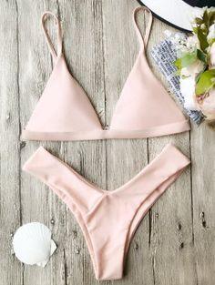 Soft Pad Spaghetti Straps Thong Bikini Set - Pink