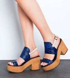 Platforms in blue provide an instant mood boost. #etsyfashion