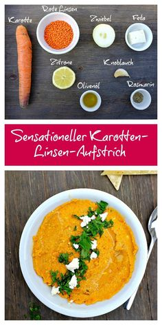 Oh wow, this spread is a true taste experience. The roasted carrots, Red lentils and Feta together make a fantastic combination. The Sweetness of the . Easy Bread Recipes, Quick Recipes, Vegan Recipes, Feta Dip, Clean Eating, Healthy Eating, Roasted Carrots, Food And Drink, Food N