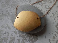 Organic Gold Pebble Necklace on Satellite Saturn by ransomjewelry, $38.00