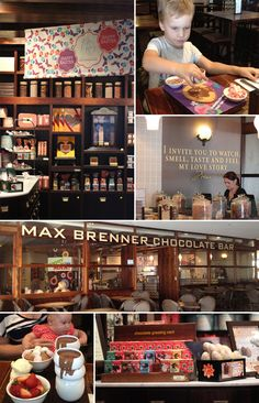 Max Brenner takes branding to a whole new level. Every touch point is SO on, from chocolate smell that permeates the street, to free samples of chocolate while you wait, and even smaller portions of food to leave room for dessert- they even dust their fries with chili cocoa powder! Max Brenner is branded wonderfully inside and out. #branding