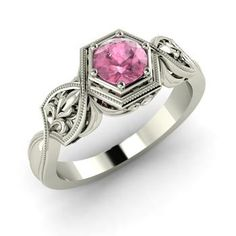 Round Pink Tourmaline  Vintage Ring in 14k White Gold