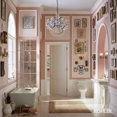 This pink, that shower, and what #bathroom doesn't need a chandler? #interiordesign #pink