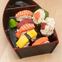 Sushi Candy made with rice crispy treats and marzipan!