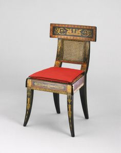Klismos style chair designed by Benjamin Henry Latrobe (1764-1820) for Waln House, Philadelphia (house demolished; chair in Philadelphia Museum of Art), c. 1808  British-born architect Latrobe is known to have designed, between 1808 & 1810, at least 2 painted furniture commissions: for the White House of Dolley and James Madison that was destroyed in the 1814 burning of Wash., D.C., & this one, which was made for the house of Philadelphia merchant William Waln and his wife Mary Wilcocks…