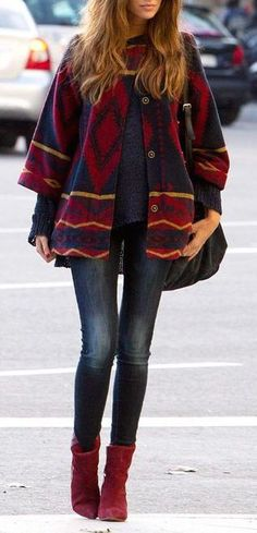#winter #fashion / aztec print + boots