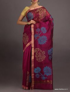 Aisha Carnation On Bloom #ChanderiBlockPrintedSaree