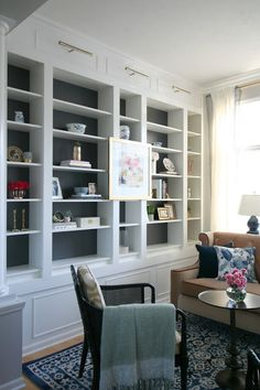 Living Room Makeover With Custom Ikea Billy Bookcase Built Ins Blush Velvet Sofa Sherwin