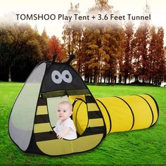 TOMSHOO Portable Children Kids Bee Play Tent Outdoor Garden Folding Toy Tent Pop Up Baby Outdoor & Play House Tent Tunnel EocuSun Pop up Kids Play Tent with Tunnel ...