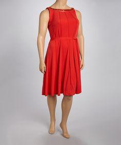 Glamour Poppy Red Embellished Dress - Plus by Glamour #zulily #zulilyfinds
