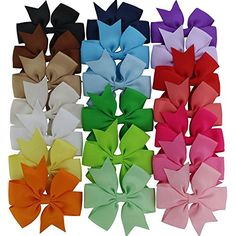 Hair Bows  Ambielly 40Pcs Baby Girl Headbands Grosgrain Ribbon Boutique Hair Bows Alligator Clips For Teens Kids 40 Solid Colors *** To view further for this item, visit the image link.(It is Amazon affiliate link) #HairstlyingAccessories
