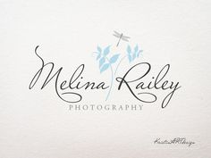 Logo design, Dragonfly logo, leaves logo, Light blue logo, Photography logo, Premade logo, Watermark 120