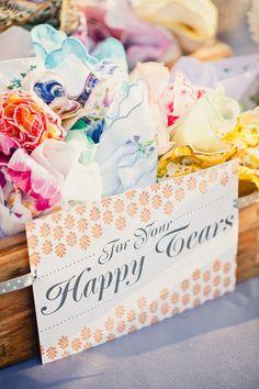 "vintage handkerchiefs ""for your happy tears"""