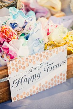 """vintage handkerchiefs """"for your happy tears""""....I am totally in love with this!"""
