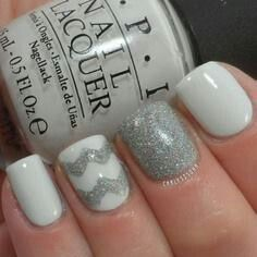 nail polish: white, silver  chevron - Like!