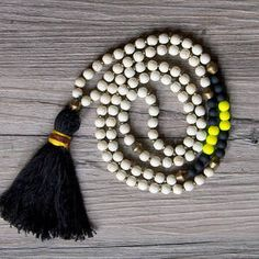 The Krista Tassel Necklace white bronze by theYIMI on Etsy Beaded Tassel Necklace, Tassel Jewelry, Diy Necklace, Beaded Jewelry, Jewelery, Beaded Bracelets, Necklaces, Do It Yourself Jewelry, Bijoux Diy